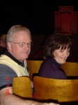 Joe  and Paula Meek Staires,  waiting for the assembly to start.auditorium of the new school.